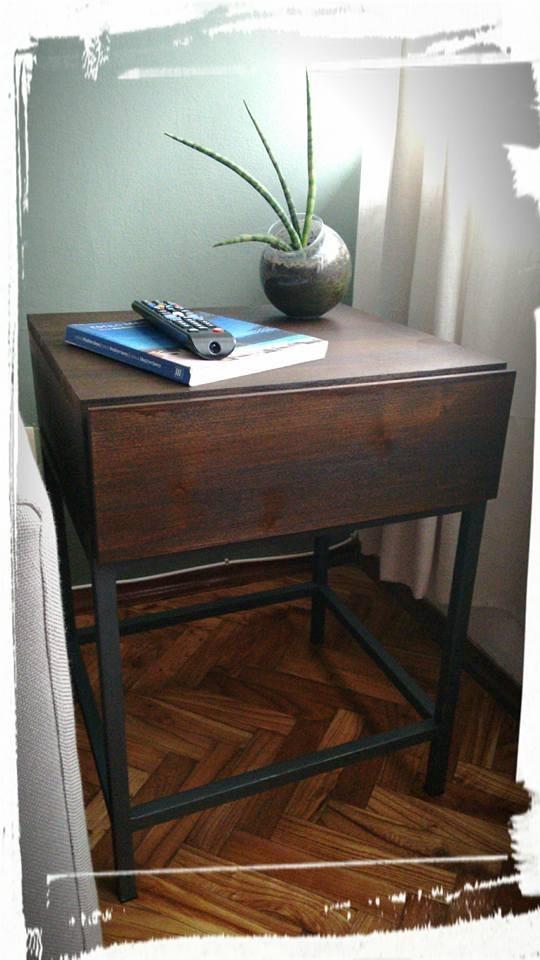 Mesa auxiliar con caj n madera y patas de hierro 4 for Patas de mesa de hierro