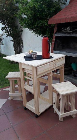Mesa Auxiliar De Cocina Plegable Con Dos Banquetas Pino
