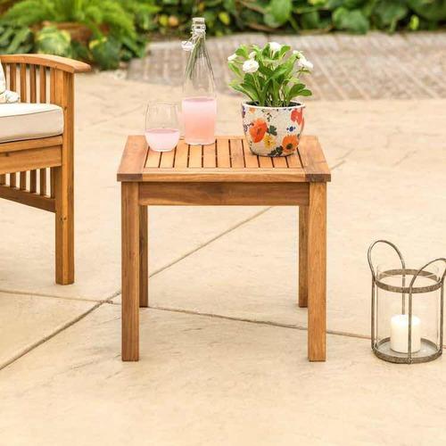 mesa auxiliar de madera teca cuadrada walker edison