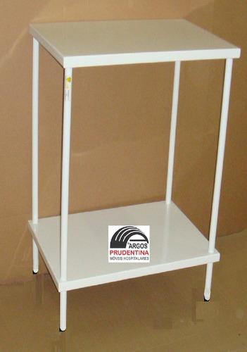 mesa auxiliar hospitalar 40x40 com ponteira plástica