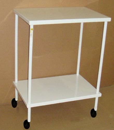mesa auxiliar hospitalar 40x60 com rodízios plásticos