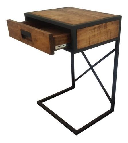 mesa auxiliar laptop vintage madera metal
