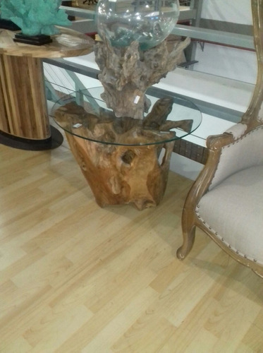 mesa auxiliar madeira maciça, tronco de arvore
