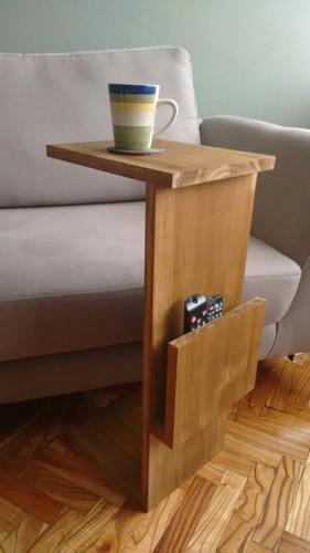Mesa auxiliar para sof madera maciza en - Mesita auxiliar sofa ...