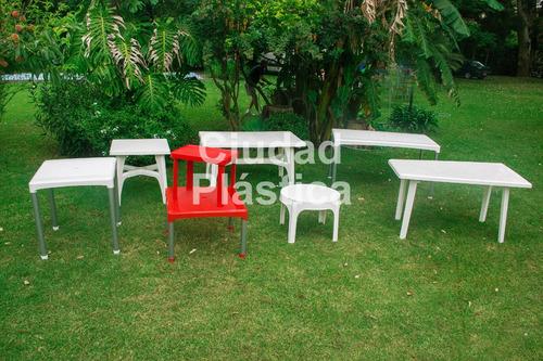mesa auxiliar plastica apilable 60 cm de diametro