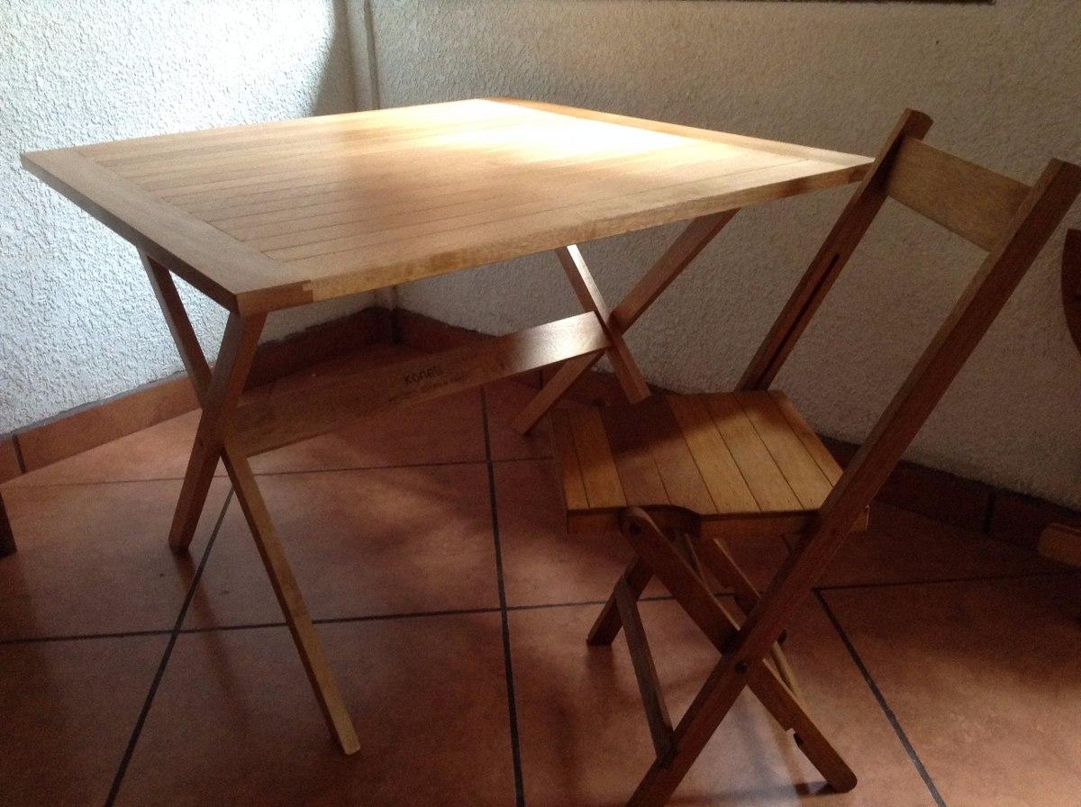 Mesa auxiliar plegable de madera jard n y o terraza konetl - Mesas terraza madera ...