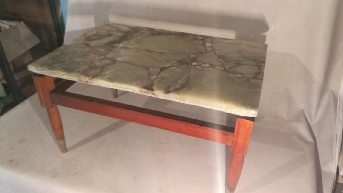 Mesa Auxiliar Ratona De Madera Con Marmol Patas Con Bronce 1 250 00
