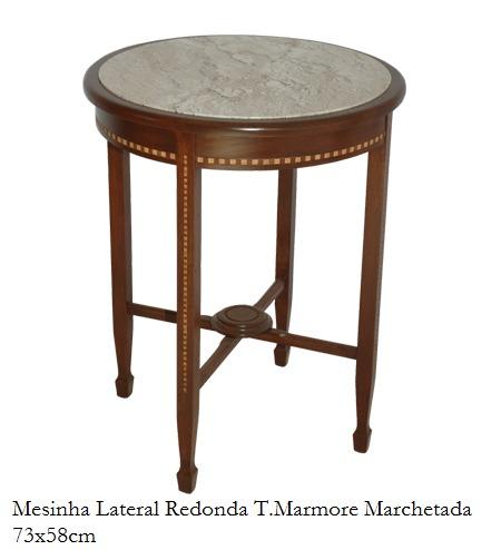 Mesa Auxiliar Redonda Madeira Macica Machetado T Marmore