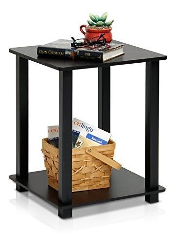 PVC Espresso//Negro Furinno Simplistic Mesa Auxiliar 2 Unidades Madera