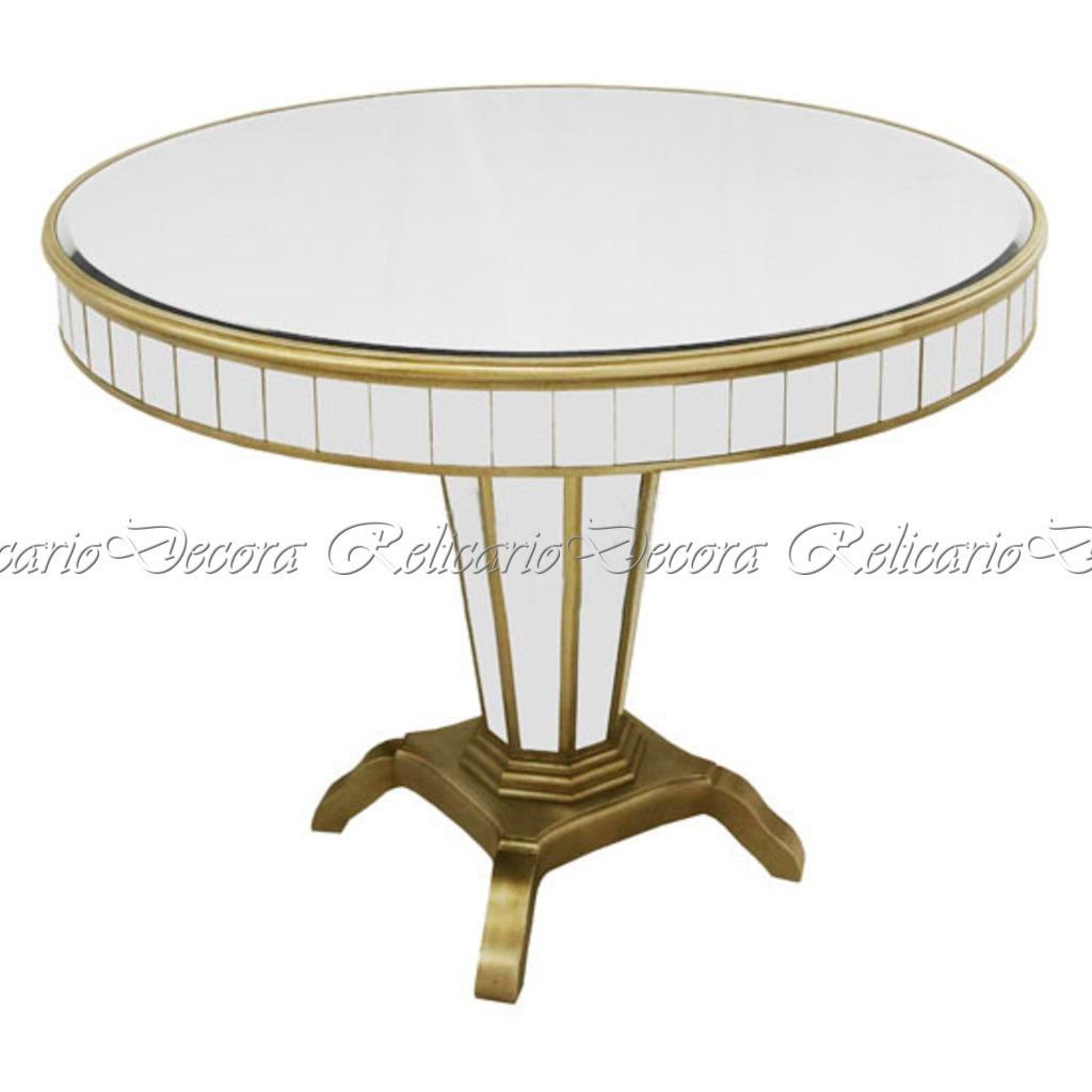 Mesa auxiliar veneziano c dourado redonda toda espelhada r em mercado livre - Mesa auxiliar redonda ...