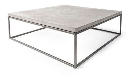 mesa baja cemento metal living concreto minimalista 50x50cm