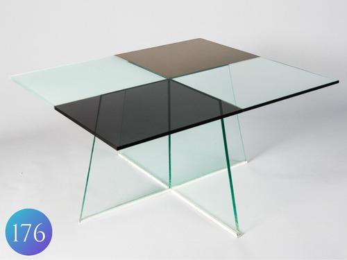 mesa baja ratona para puff de vidrio! diseño moderno