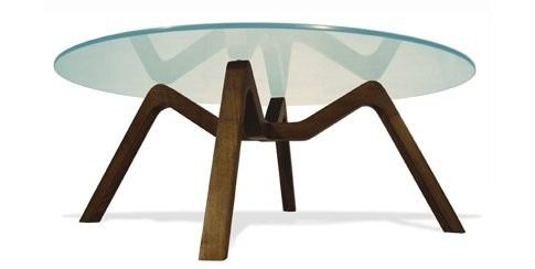 mesa baja ratona vidrio y madera maciza retro moderno