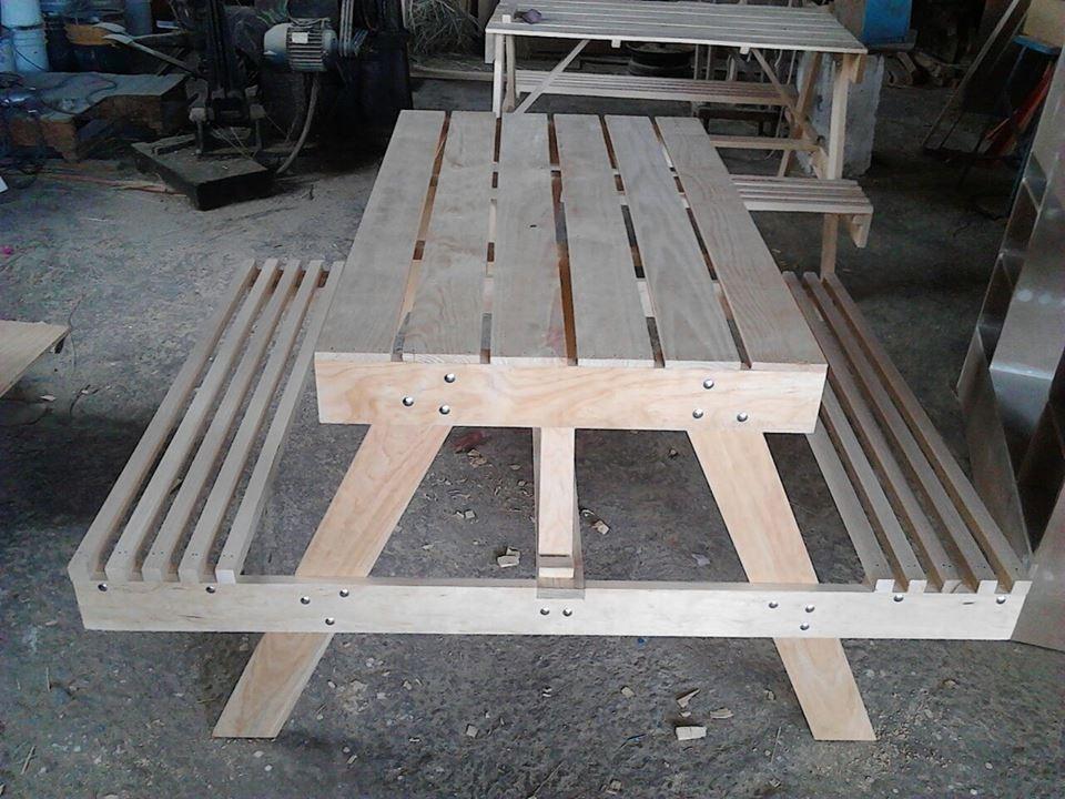 Mesa banca para picnic mesa campestre mesa para jardin for Mesa y banco de jardin