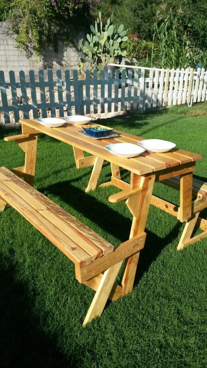 Mesa banca plegable para jardin 2 en 1 3 en mercado libre - Mesas de madera plegables para exterior ...