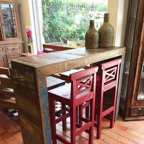 mesa bancada alta sem banquetas madeira de demolição rústico