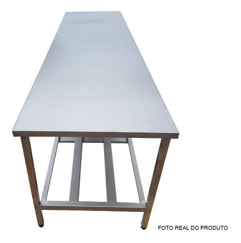mesa bancada grande 290 x 70 x 90cm 01 prateleira aco inox