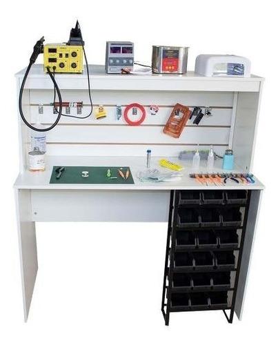 mesa bancada manutençao celular c/ eletrica + organizador