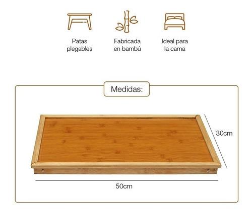 mesa bandeja plegable multiuso en bambú 50x30cm oferta loi