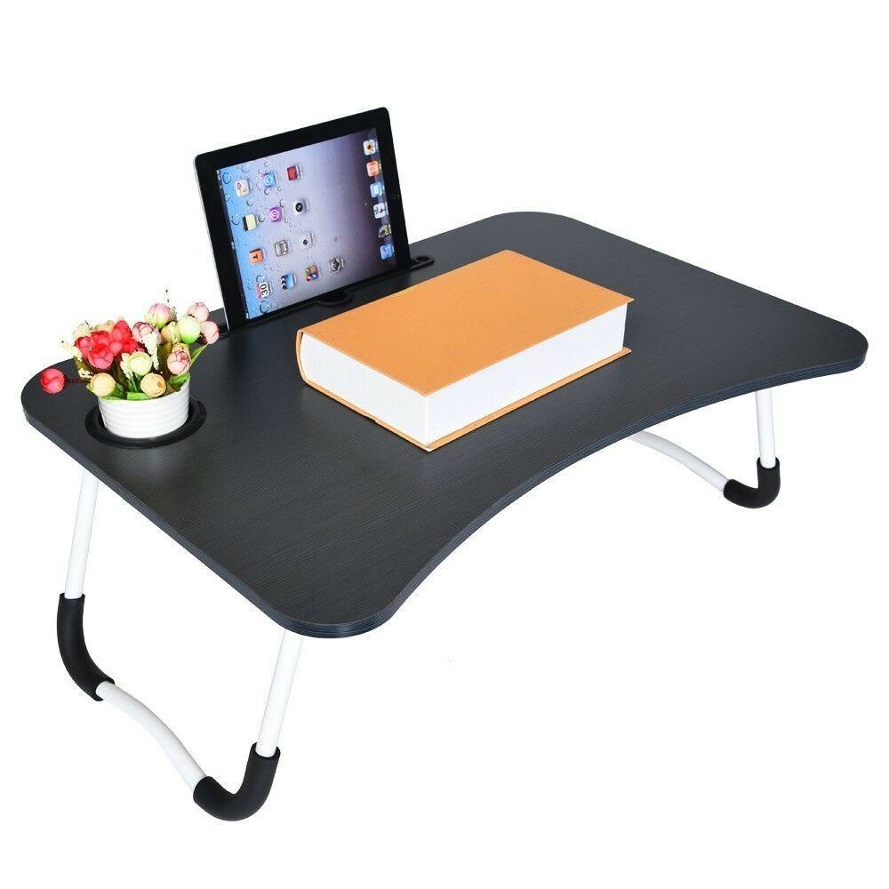 Mesa Bandeja Plegable.Mesa Bandeja Plegable Reforzada Soporte Porta Notebook Laptop Tablet Desayunadora Para Cama Sillon 60 Cm Con Posavasos