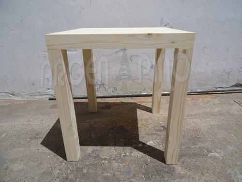 mesa bar asia 70 x 70 pata 3 x 3 maciza fabrica argen pino