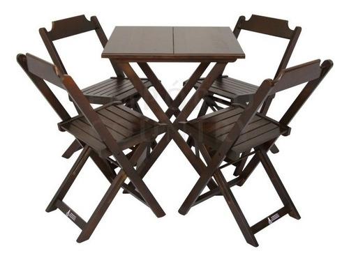 mesa bar dobrável 70 cm c/ 4 cadeiras empório country