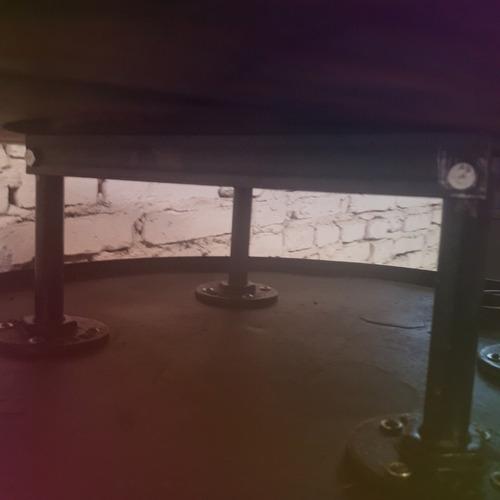 mesa bar jardin barril hierro mesa de madera mundo reciclado