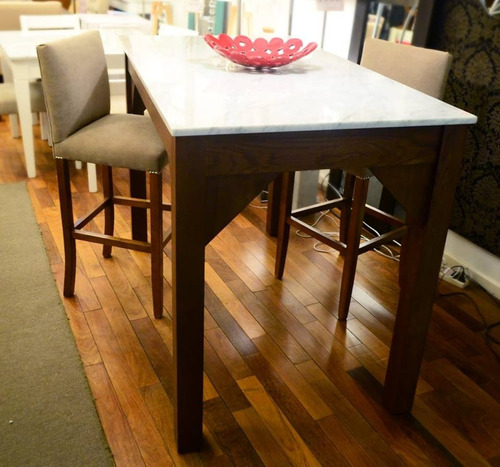 mesa barra con tapa  mármol carrara