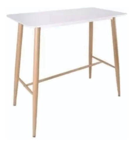 mesa barra eames blanca + 4 banqueta tolix gris claro
