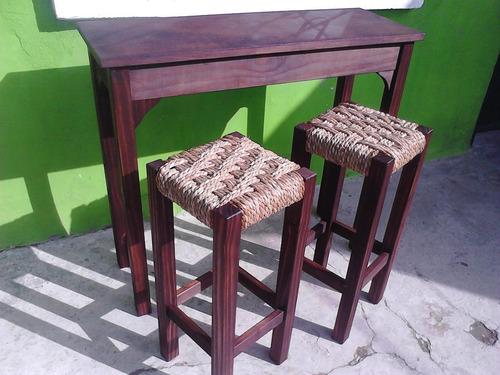 mesa barra o de arrime con 4 taburetes en cardo por encargue
