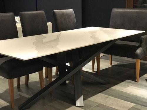 mesa base de hiero + porcelanato simil marmol spl 238x99 t