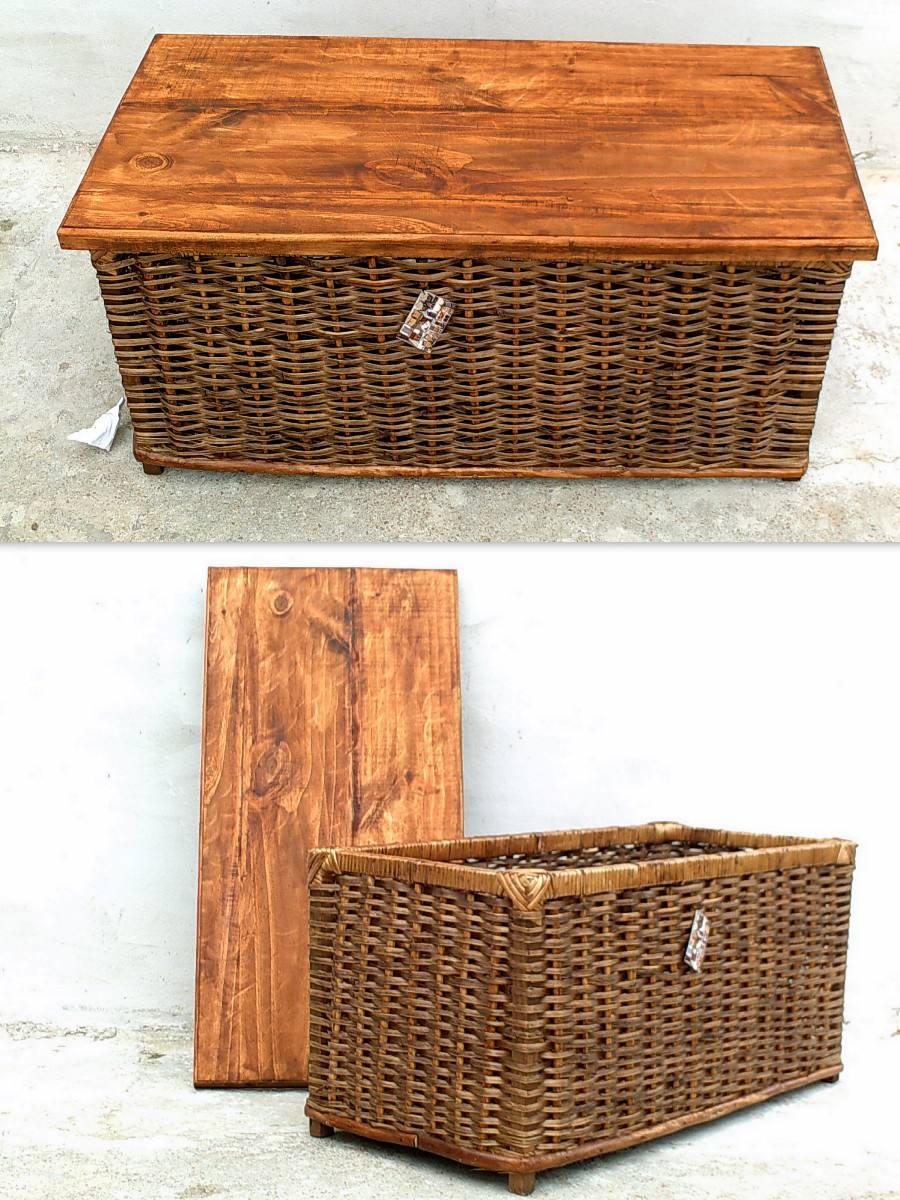 Mesa baul de mimbre con tapa de madera por encargue - Mesas de mimbre ...