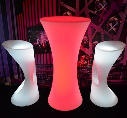 mesa bistrô iluminada 110cm  led rgb  pronta entrega