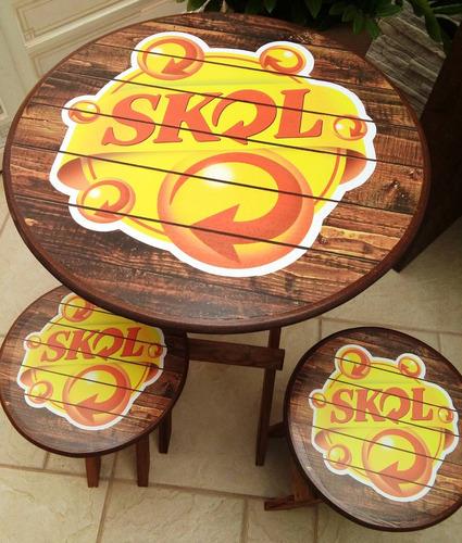 mesa bistro logo person com bancos decoração rustica cerveja
