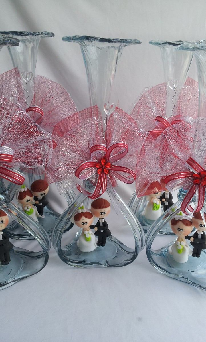 Hermoso centro de mesa boda florero vidrio soplado novios - Mesa de centro vidrio ...