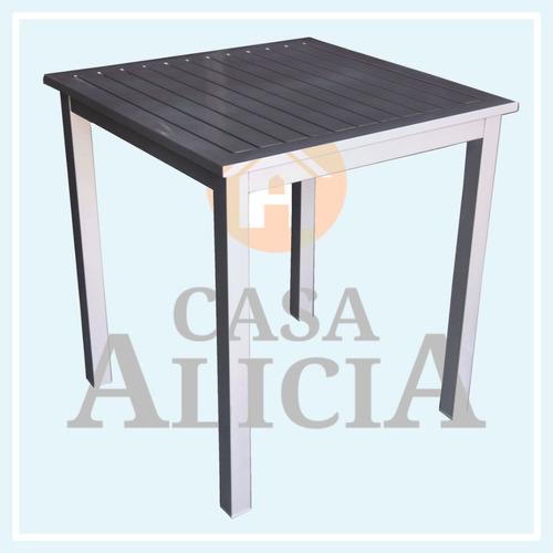 mesa boheme de aluminio 0.75 x 0.75 color gris