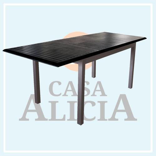 mesa boheme de aluminio 1.52 x 0.90 color negra