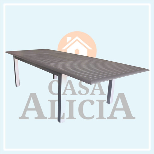 mesa boheme extensible de aluminio 2.00 a 3.00 x 1.20 gris