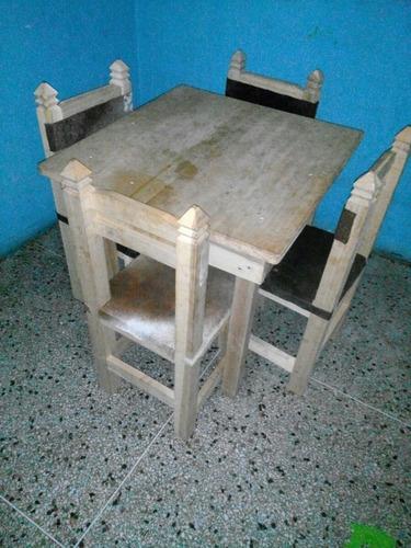 mesa campestre de 4 sillas