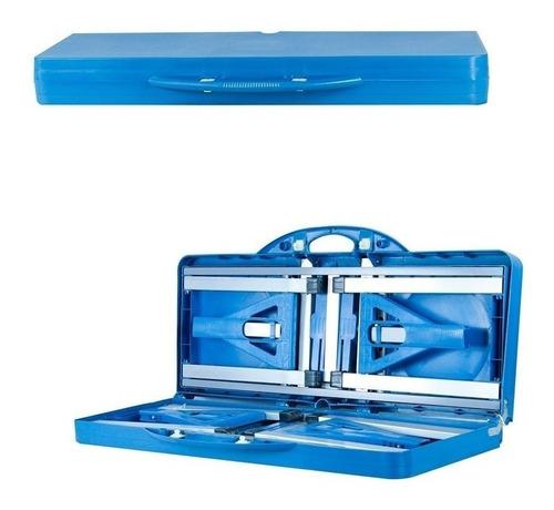 mesa camping dobrável azul 4 bancos vira maleta praia pesca