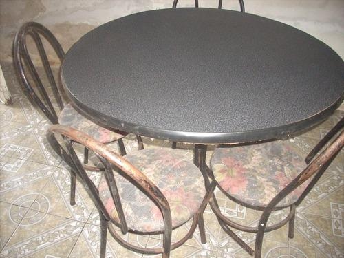 mesa carmica c/4 sillas de metal 100 cm x 84 altura.