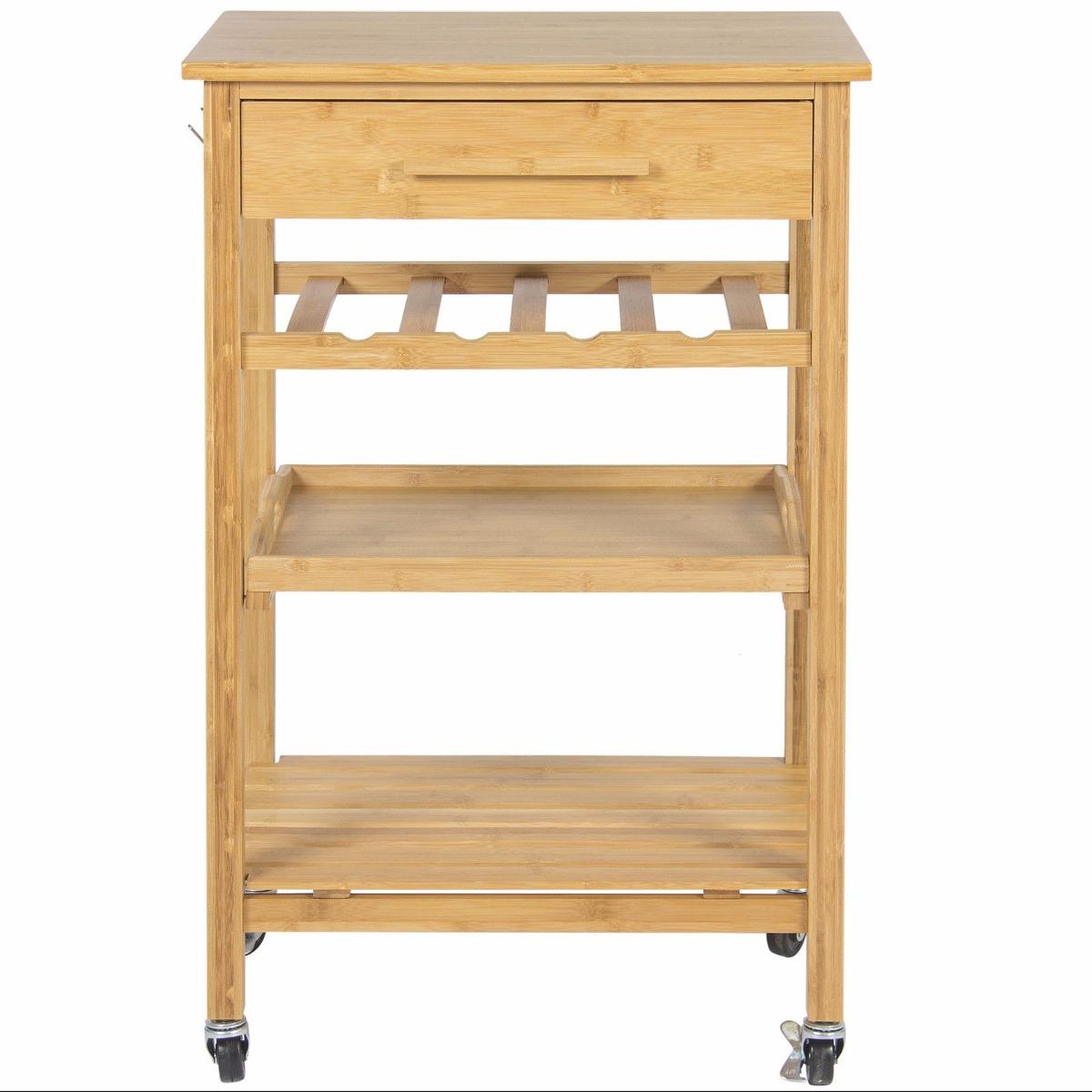 Mesa carrito de servicio de madera 0504 3 en for Carritos de cocina de madera