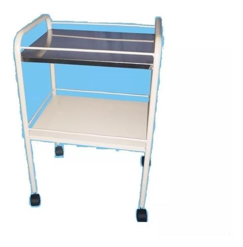 mesa carro auxiliar de curaciones pintada color almendra