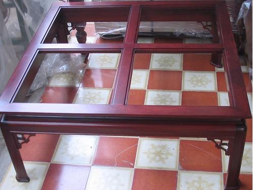 mesa central de sala clasica 100% madera de caoba nuevas