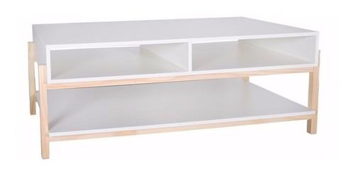 mesa central ratona para living fusion en blanco 45x126x65cm