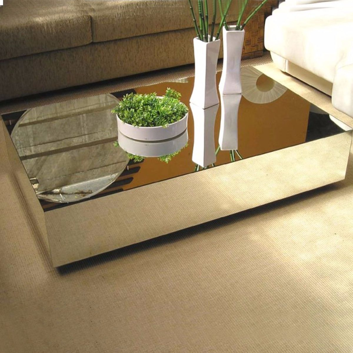 Mesa centro espelhada vidro para sala moderna cristal r for Mesas de centro grandes