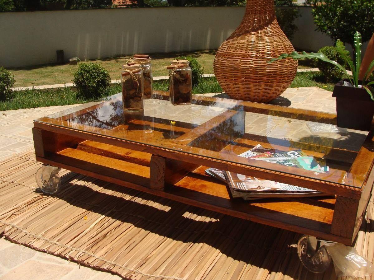 Artesanal Jardim Goias ~ Mesa De Centro Madeira Rustica C Rodas S vidro R$ 200,00 em Mercado Livre