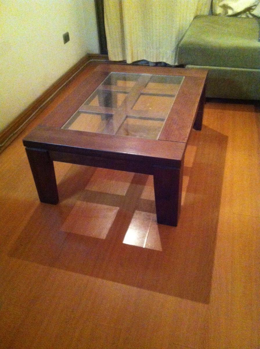 Mesa centro madera con vidrio en mercado libre for Mesas de living
