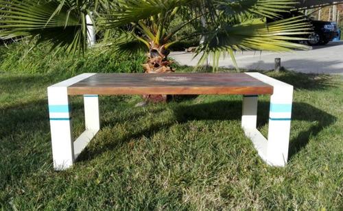 mesa centro madera nativa maciza modelo mandala
