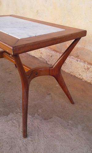 mesa centro pé palito mod. scapinelli caviuna/marmore